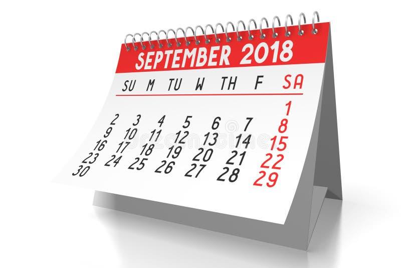 3D calendário 2018 - setembro ilustração royalty free
