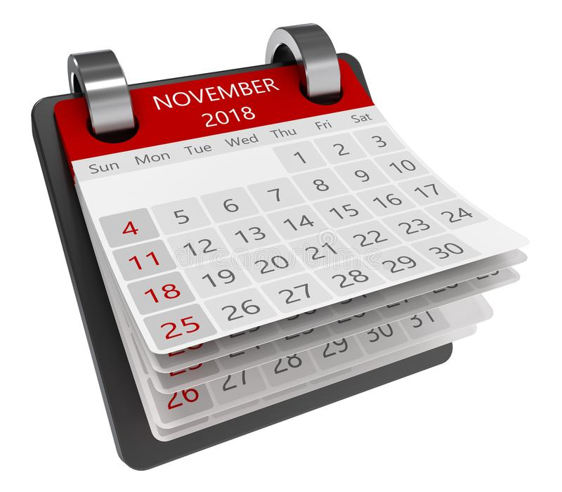 3d calendar. 3d monthly calendar perspective view isolate, 2018 november page vector illustration