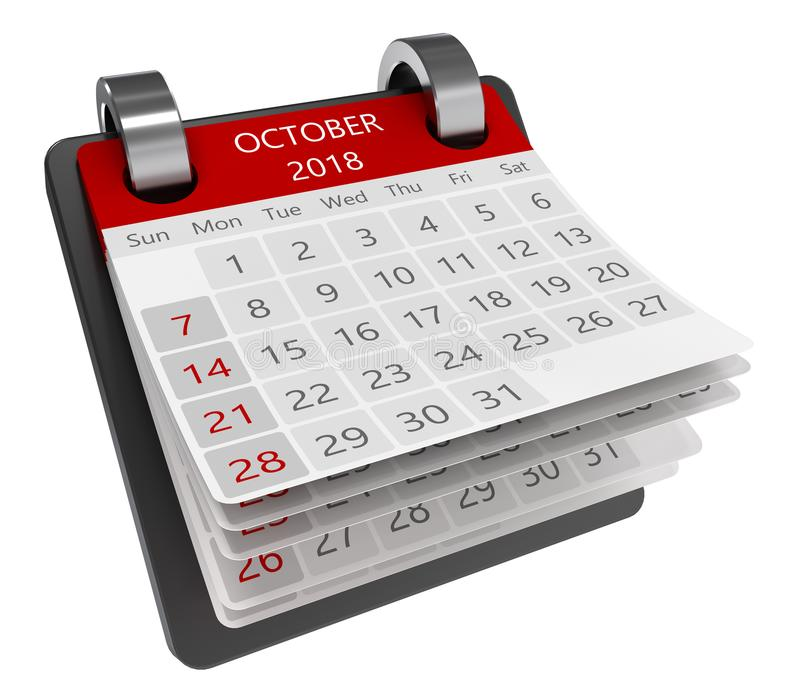 3d calendar. 3d monthly calendar perspective view isolate, 2018 october page royalty free illustration