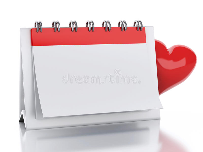 3d Calendar with red heart. Valentine's Day concept royalty free illustration