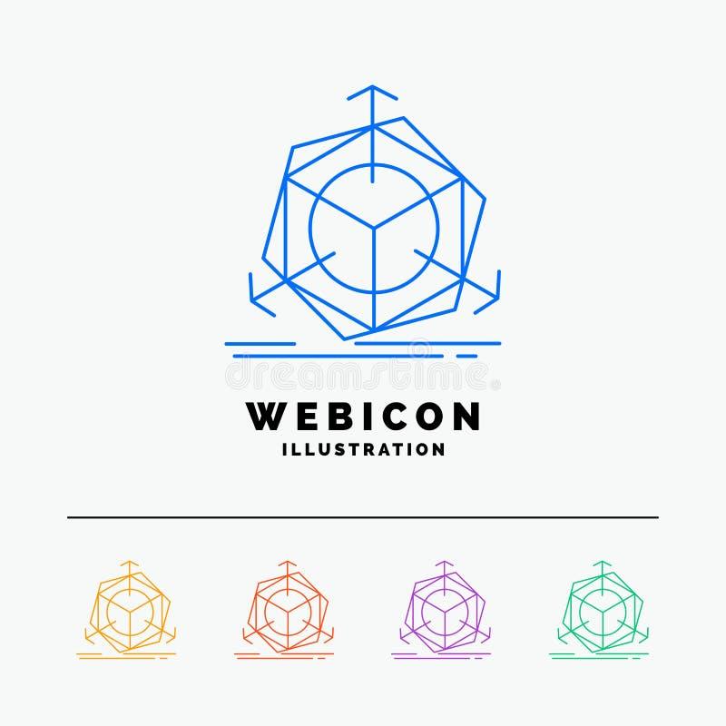 3d, cambiamento, correzione, modifica, linea di colore dell'oggetto 5 modello dell'icona di web isolato su bianco Illustrazione d royalty illustrazione gratis