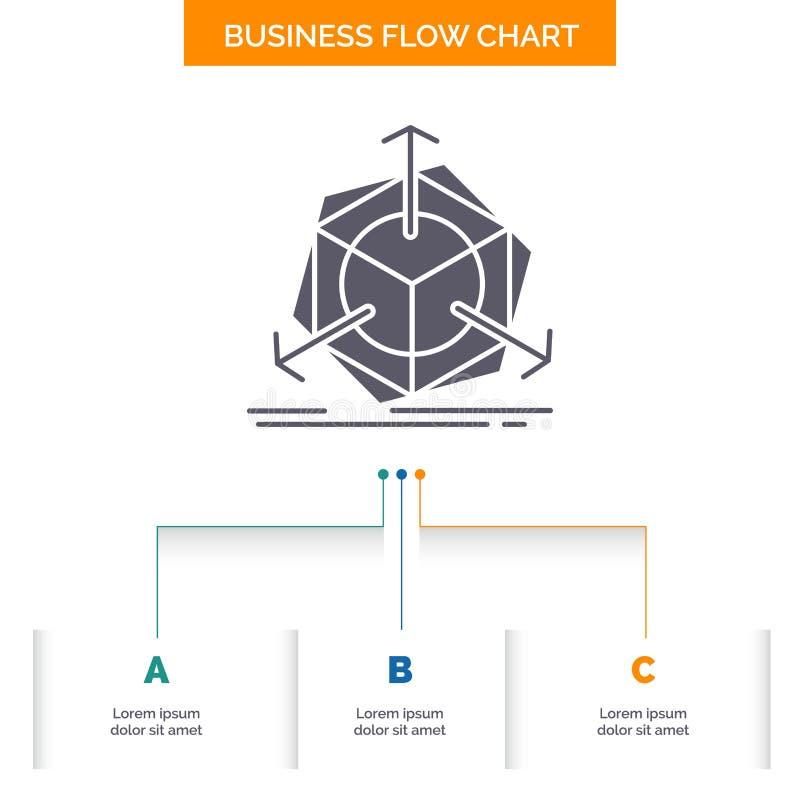 3d, cambiamento, correzione, modifica, progettazione del diagramma di flusso di affari dell'oggetto con 3 punti Icona di glifo pe royalty illustrazione gratis