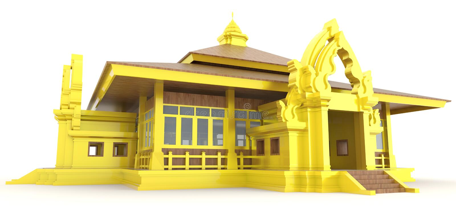 3D Cambodian palace exterior in backgroun. 3D golden Cambodian (Khmer) palace exterior design in background, create by 3D stock illustration