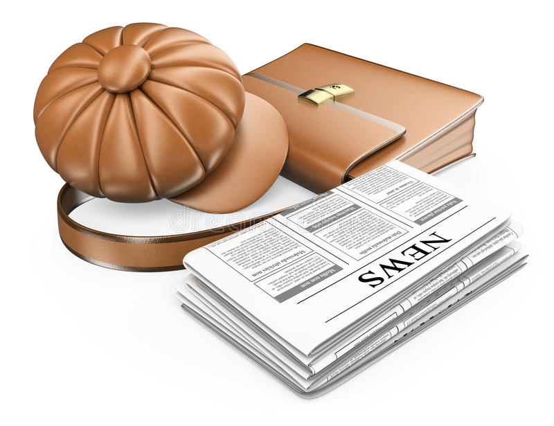 3D Cap briefcase and newspaper. Latest news concept. White background stock illustration