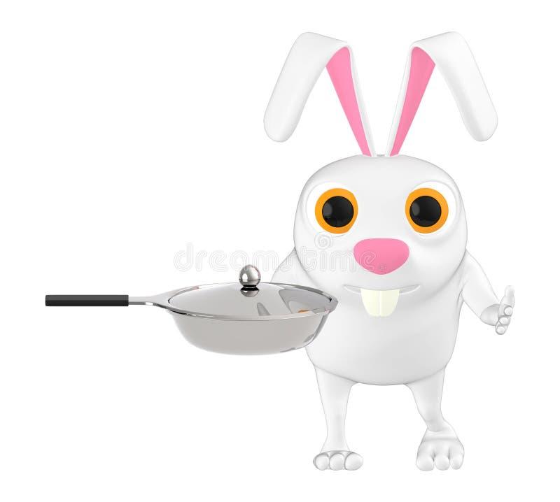 3d carácter, conejo con la cacerola de fritada stock de ilustración