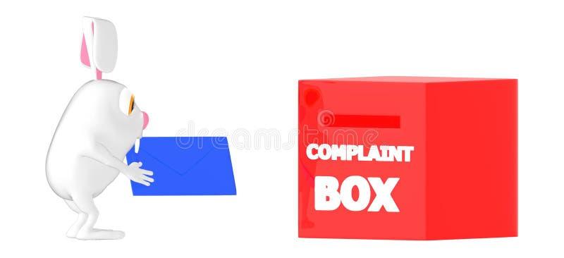 3d carácter, conejo que sostiene un sobre cerca de una caja de denuncia stock de ilustración