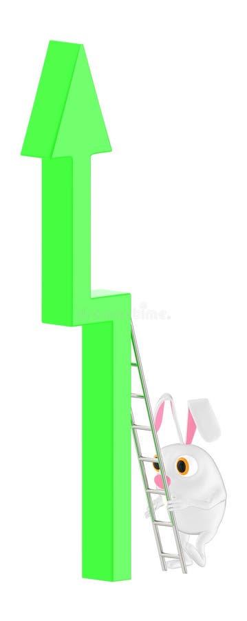 3d carácter, conejo que sube hasta una flecha usando una escalera ilustración del vector