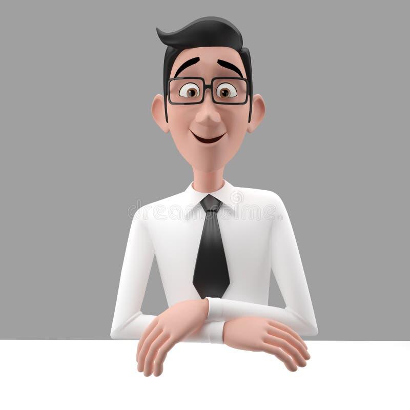 3d carácter divertido, hombre de negocios de mirada comprensivo de la historieta libre illustration