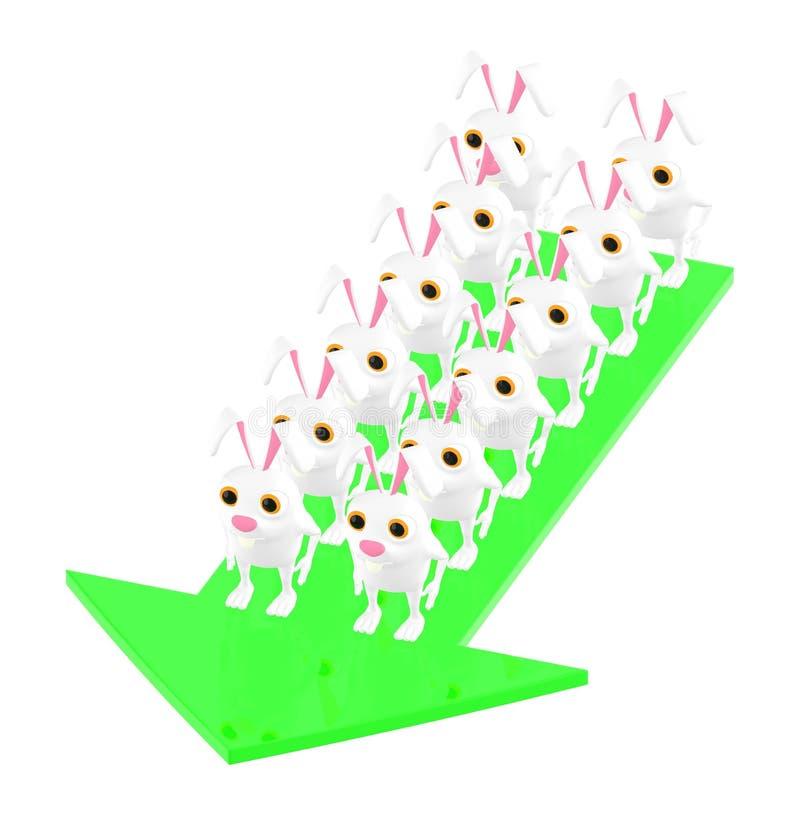 3d carácter, grupo del conejo encima de la flecha ilustración del vector