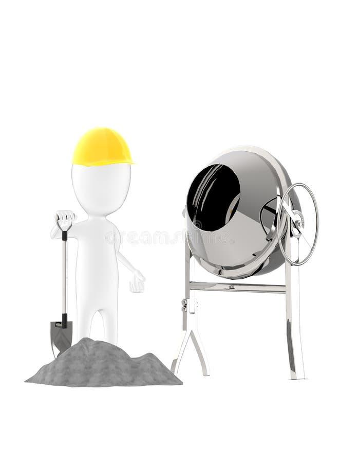 3d carácter, hombre que lleva el casquillo duro, sosteniendo la pala mientras que se coloca cerca al mezclador del concreate y a  stock de ilustración