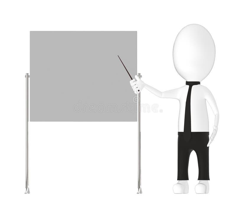 3d carácter, hombre que sostiene un palillo y que señala towads un tablero vacío stock de ilustración