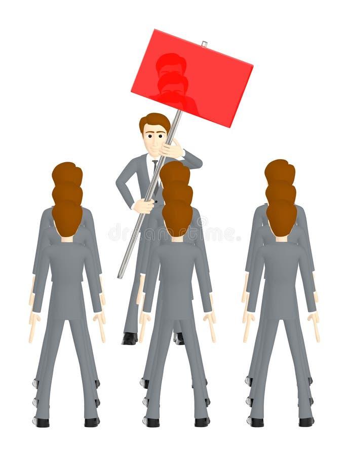 3d carácter, hombre que sostiene una bandera vacía roja y otras carácter que se coloca delante de él y que mira y que escucha libre illustration