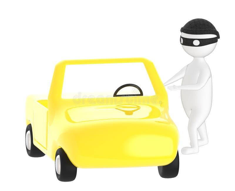 3d carácter, ladrón del hombre, robo del coche stock de ilustración