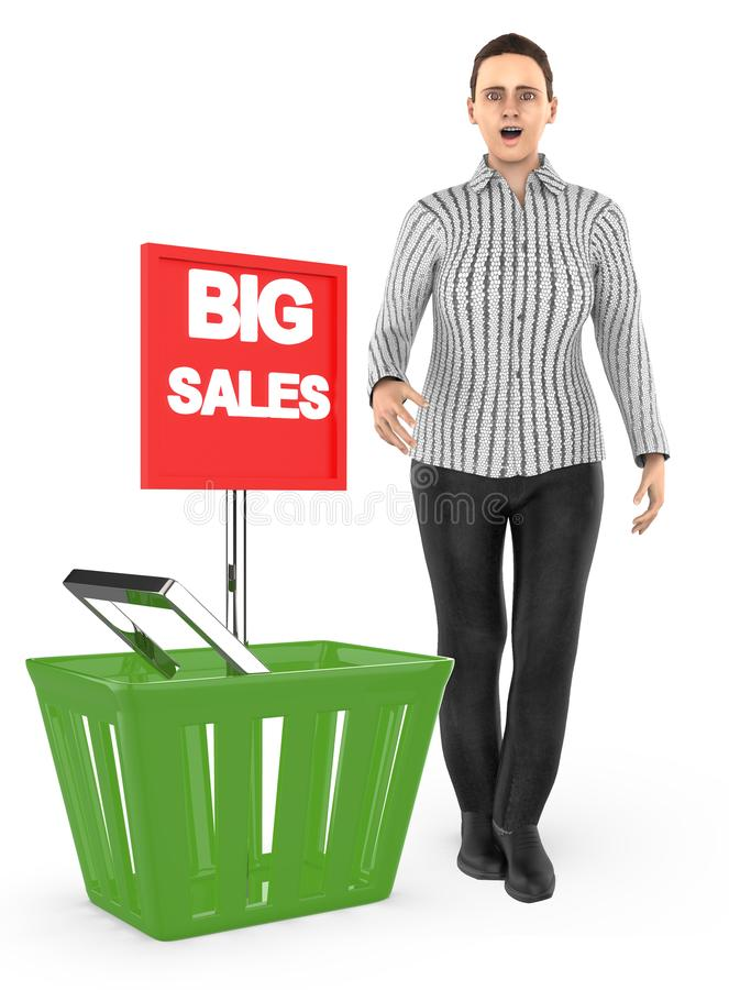 3d carácter, mujer, sorprendido, excitado, colocándose cerca a una cesta con el anuncio grande de la venta ilustración del vector