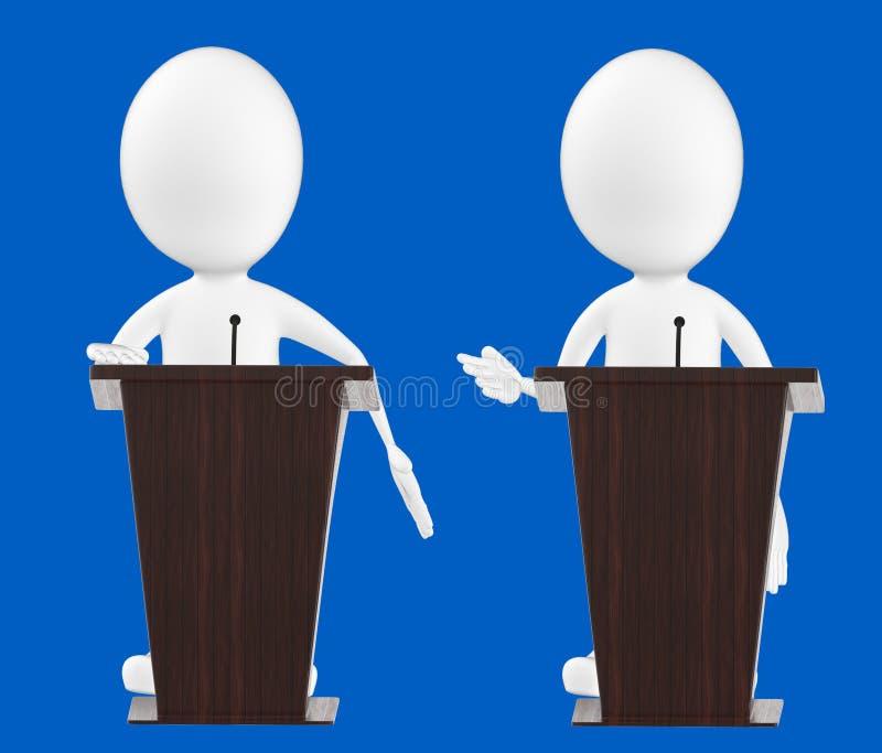3d caráter branco, caráteres em um pódio ilustração do vetor
