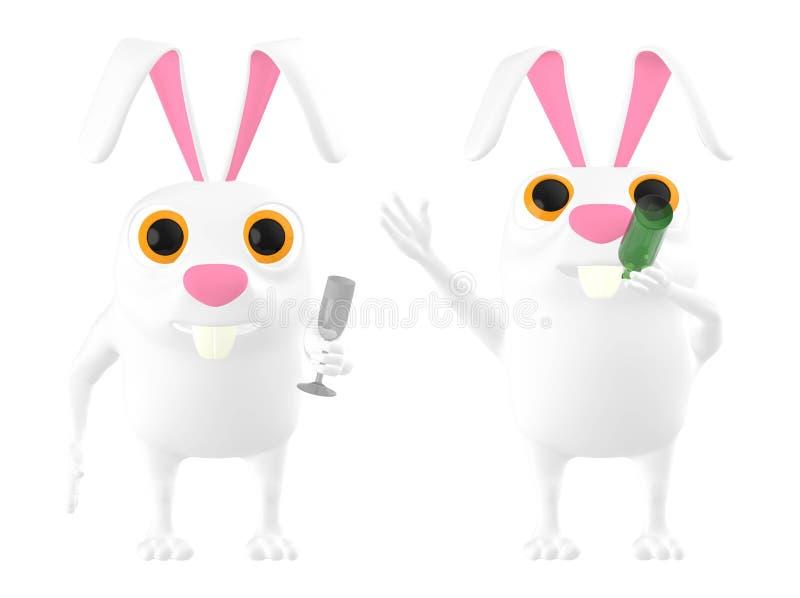 3d caráter, coelho que bebe uma garrafa e uma outra terra arrendada um o vidro ilustração do vetor