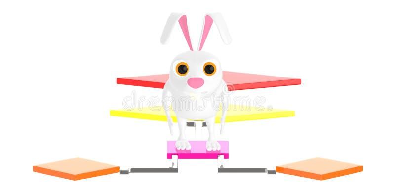 3d caráter, coelho que está sobre um fluxograma ilustração royalty free