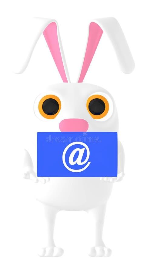3d caráter, coelho que guarda o envelope do sinal do email ilustração do vetor