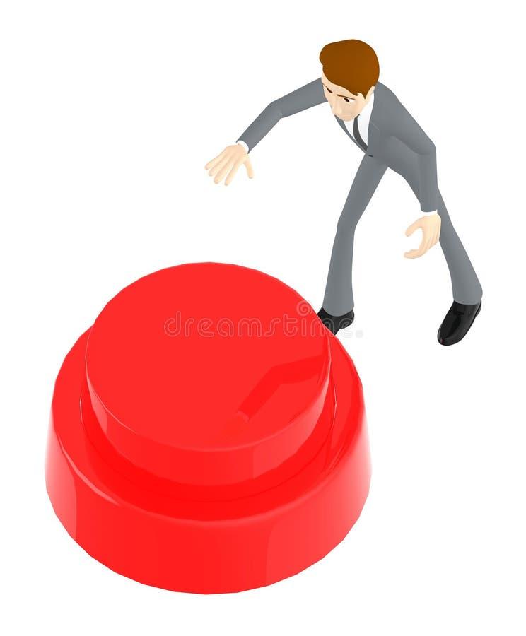 3d caráter, homem aproximadamente para pressionar o botão vermelho ilustração stock