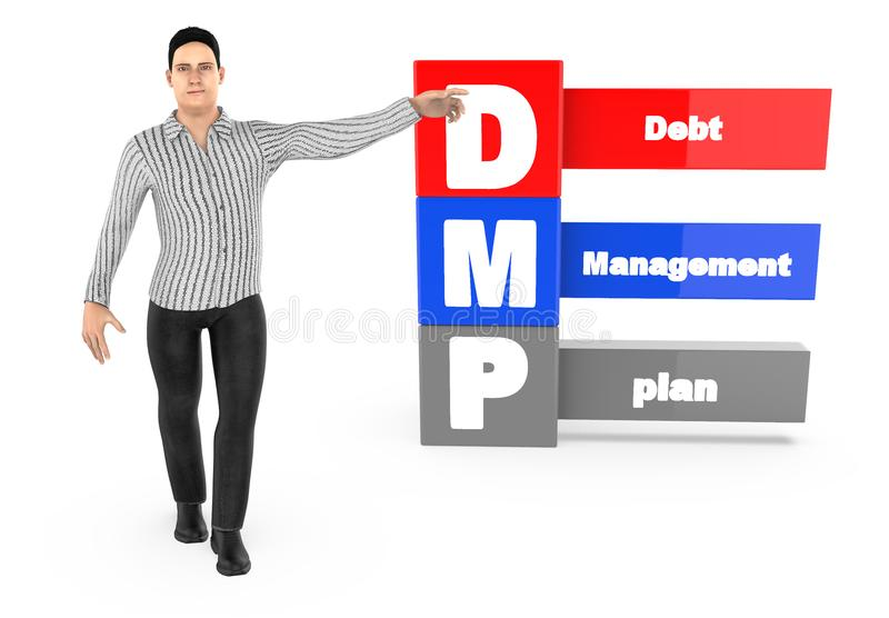 3d caráter, homem que aponta suas mãos para o plano de gestão de dívidas ilustração stock