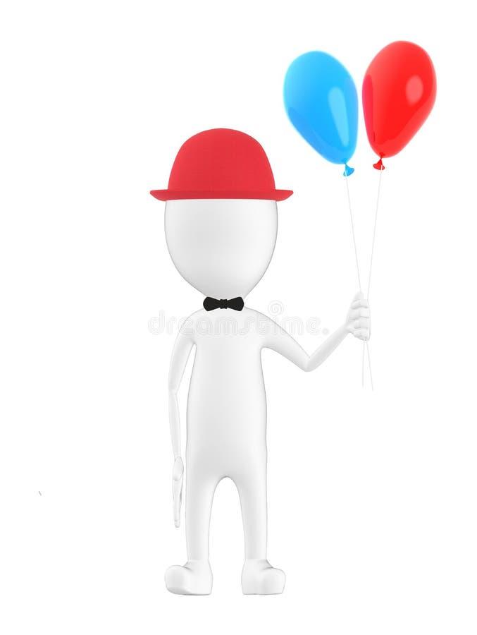 3d caráter, homem que veste um tampão e que guarda ballons ilustração do vetor
