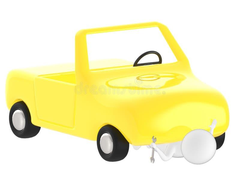 3d caráter, homem sob o reparo do carro, com uma chave ilustração royalty free