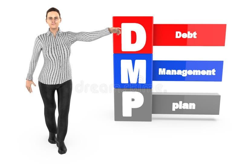 3d caráter, mulher que aponta suas mãos para o plano de gestão de dívidas ilustração royalty free