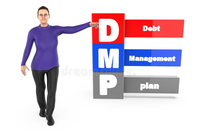 3d caráter, mulher que aponta suas mãos para o plano de gestão de dívidas ilustração stock