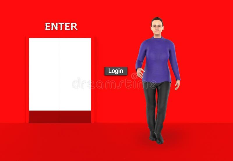 3d caráter, mulher que está próximo a um botão do início de uma sessão em uma entrada fechado ilustração royalty free