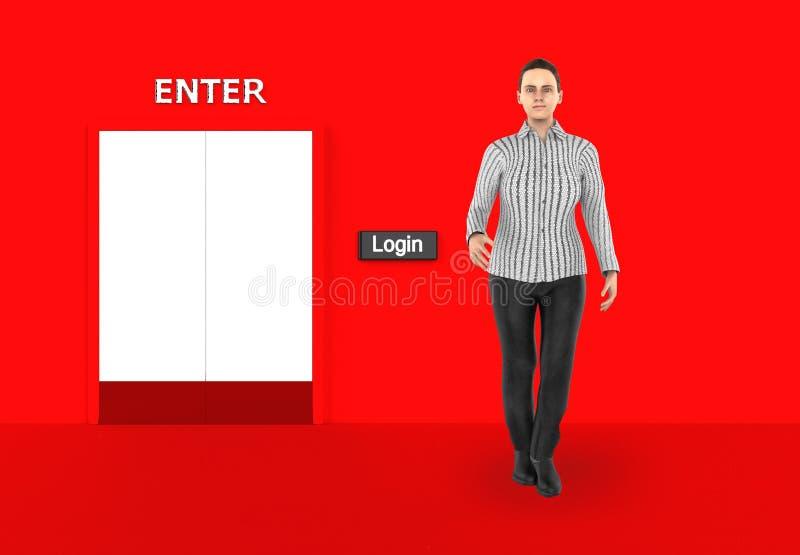 3d caráter, mulher que está próximo a um botão do início de uma sessão em uma entrada fechado ilustração stock