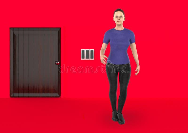 3d caráter, mulher que está próximo a uma entrada fechado ilustração royalty free