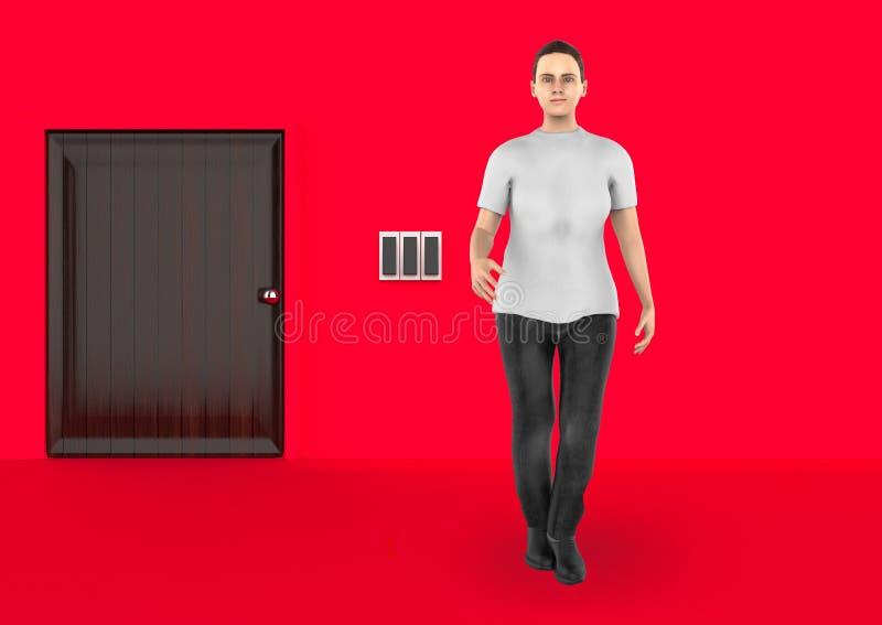 3d caráter, mulher que está próximo a uma entrada fechado ilustração do vetor