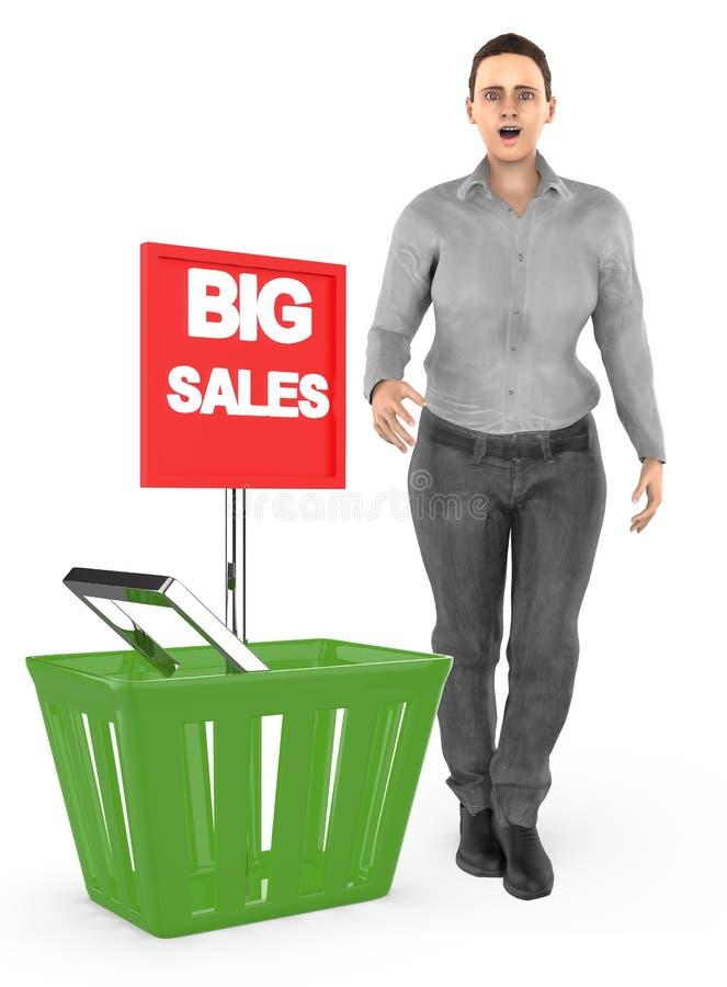3d caráter, mulher, surpreendido, entusiasmado, posição próximo a uma cesta com o anúncio grande da venda ilustração stock