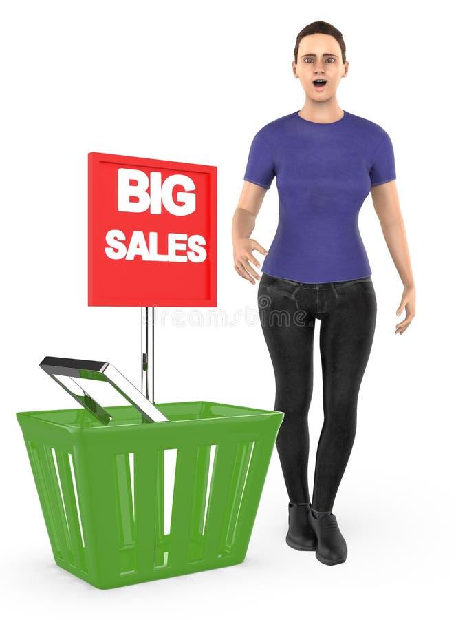 3d caráter, mulher, surpreendido, entusiasmado, posição próximo a uma cesta com o anúncio grande da venda ilustração royalty free
