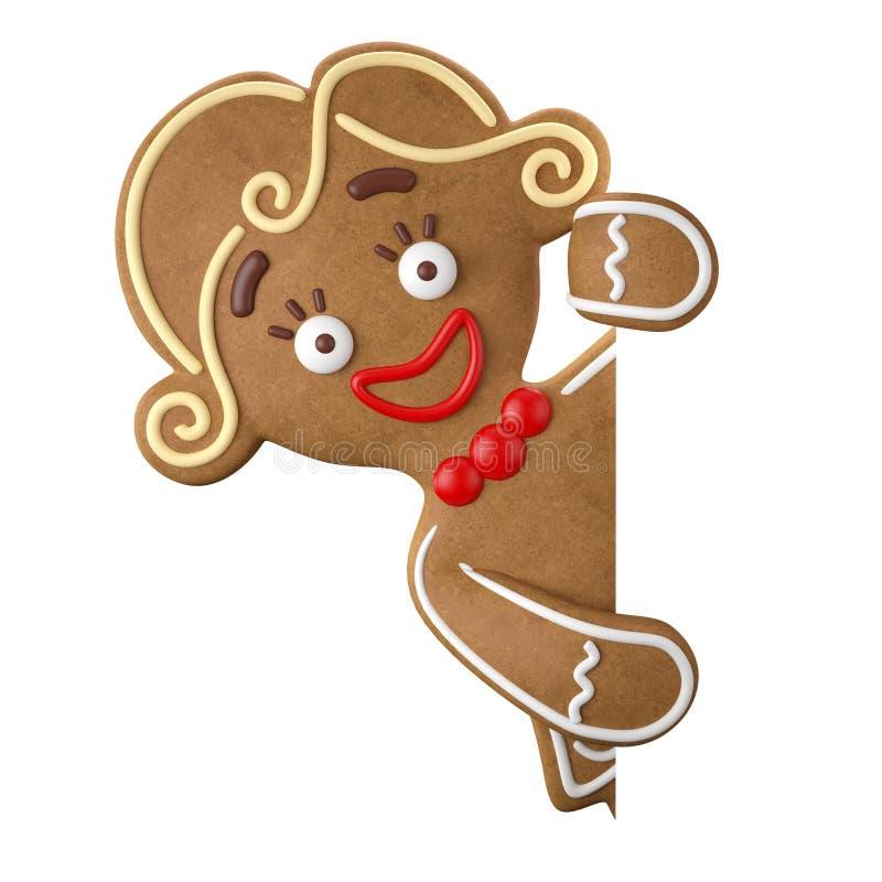 3d caráter, pão-de-espécie alegre, decoração engraçada do Natal, ilustração stock