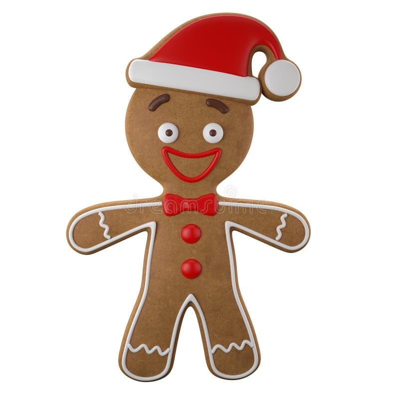 3d caráter, pão-de-espécie alegre, decoração engraçada do Natal, ilustração do vetor