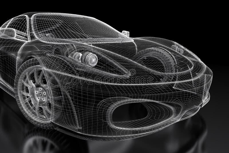 3D car mesh on a black stock illustration. Illustration of engine ...