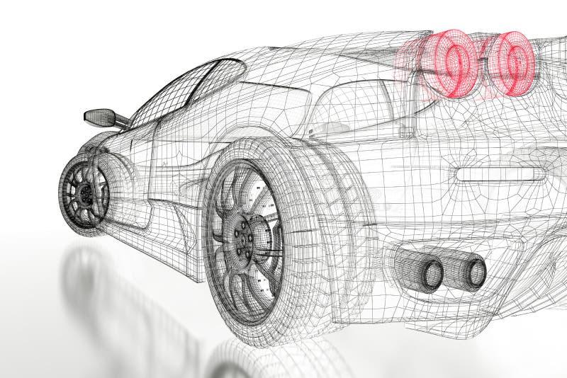 3D car mesh on a white stock illustration. Illustration of design ...