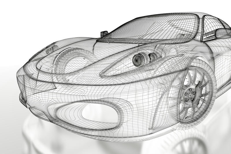 3D car mesh on a white stock illustration. Illustration of model ...
