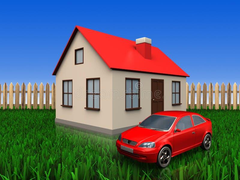 3d car over lawn and fence. 3d illustration of house with car over lawn and fence background vector illustration