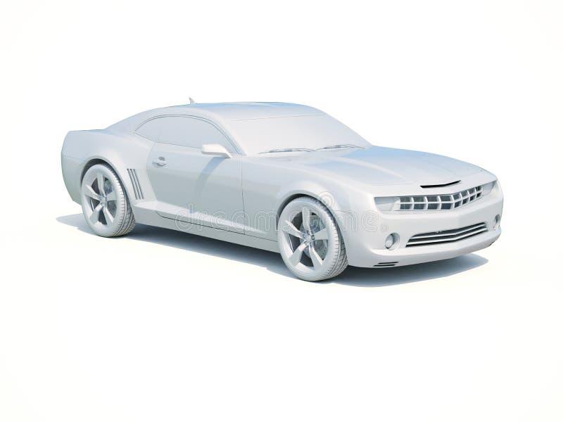 3d Car White Blank Template vector illustration