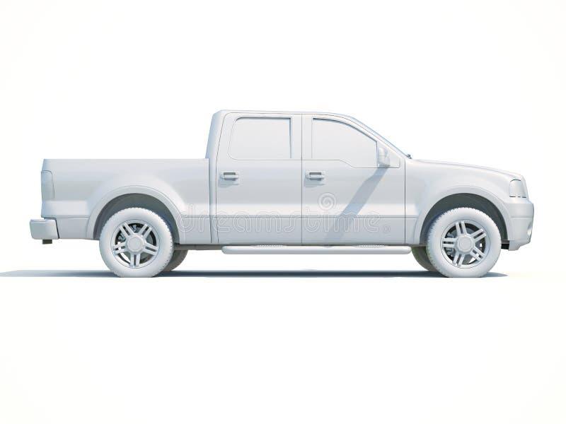 3d Car White Blank Template stock illustration