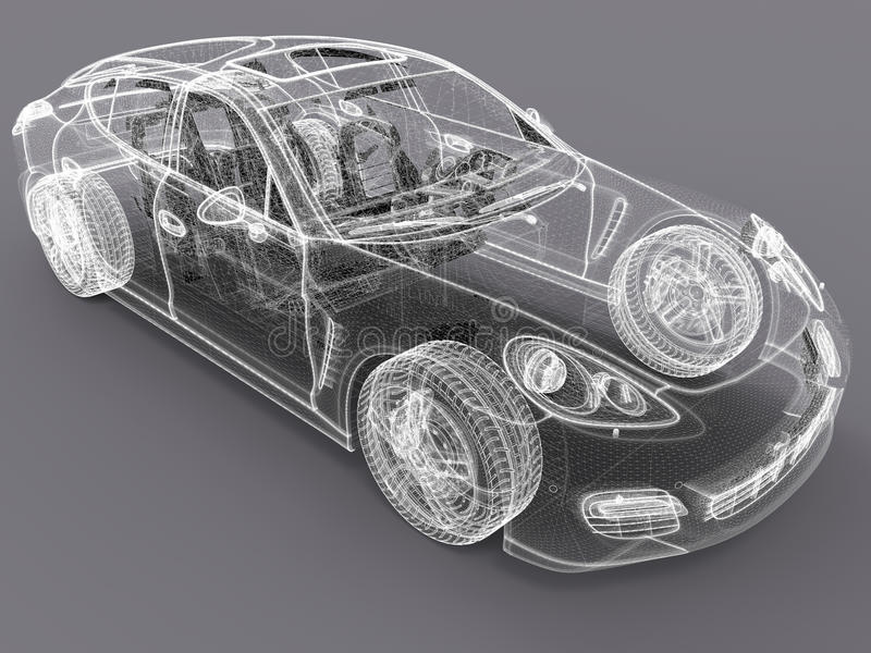 3D car wireframe design. 3D rendered illustration of a wireframe model of a car. The image can be used as a way of sketching modern cars royalty free illustration