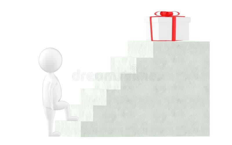 3d caractère, étape d'homme au-dessus d'un escalier, cadeau à l'extrémité de l'escalier illustration stock