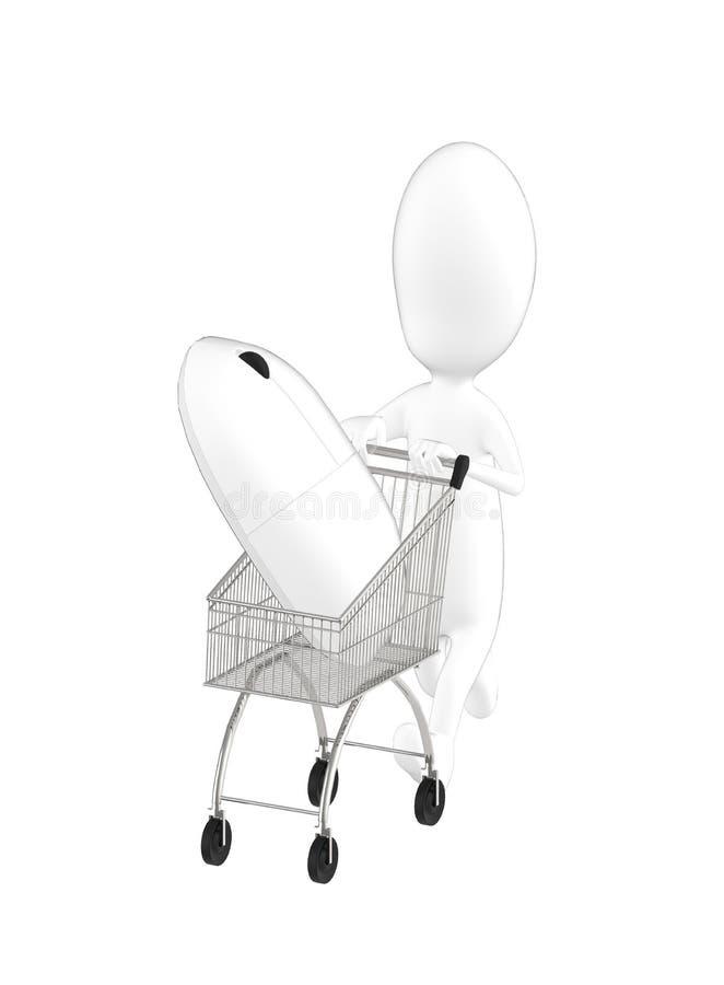 3d caractère, chariot d'homme avec une souris illustration de vecteur