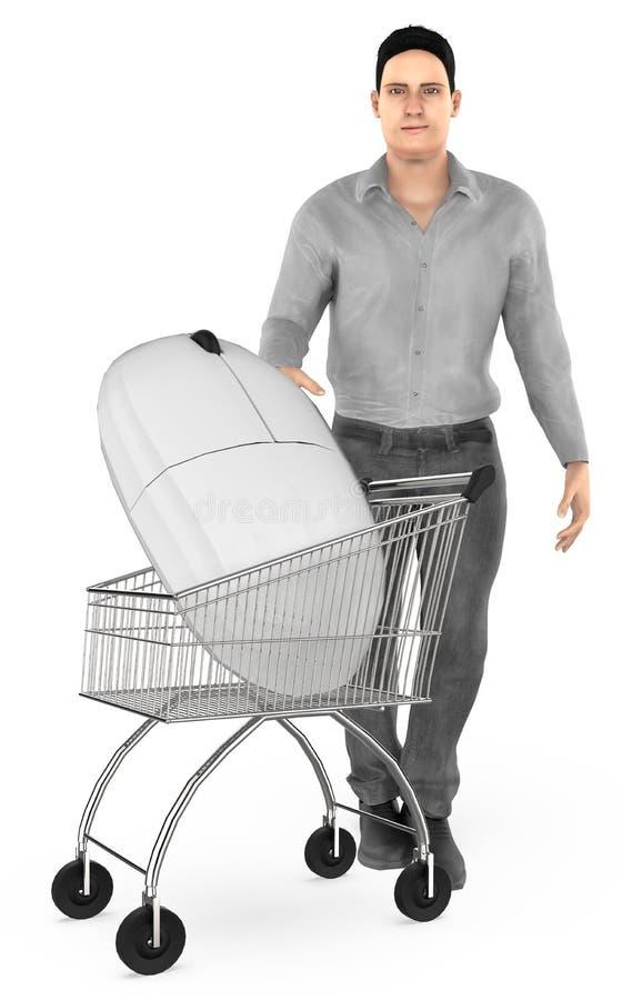 3d caractère, chariot d'homme avec une souris illustration libre de droits
