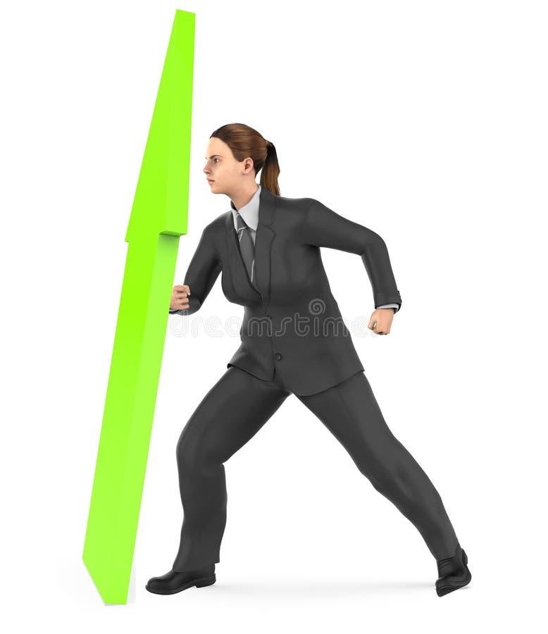 3d caractère, femme élevant une flèche vers le haut illustration stock