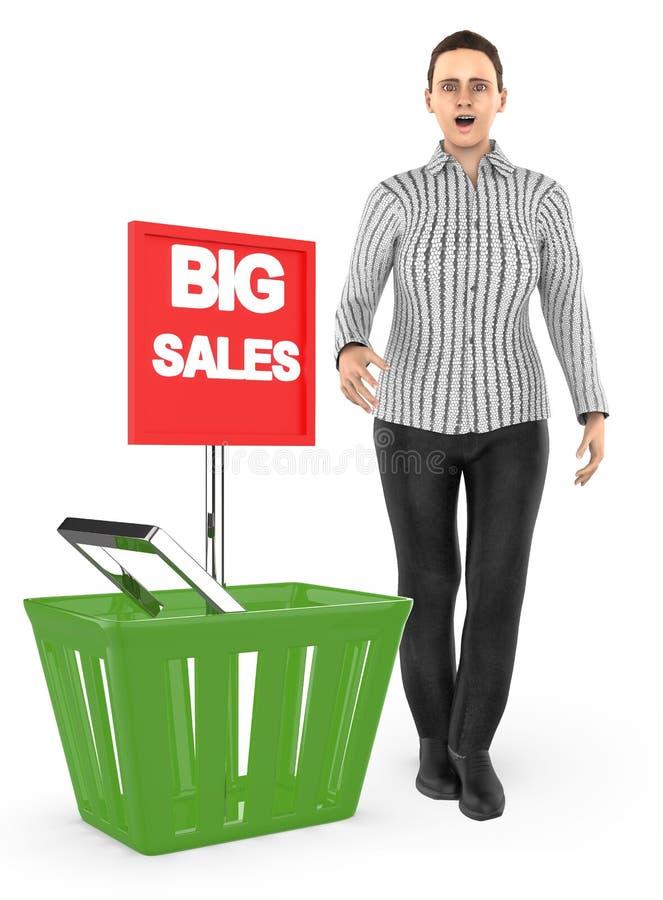 3d caractère, femme, étonné, excité, presque se tenant à un panier avec la grande annonce de vente illustration de vecteur