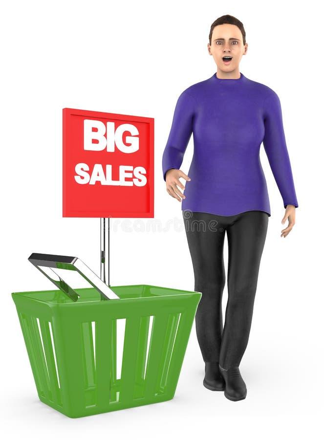 3d caractère, femme, étonné, excité, presque se tenant à un panier avec la grande annonce de vente illustration stock