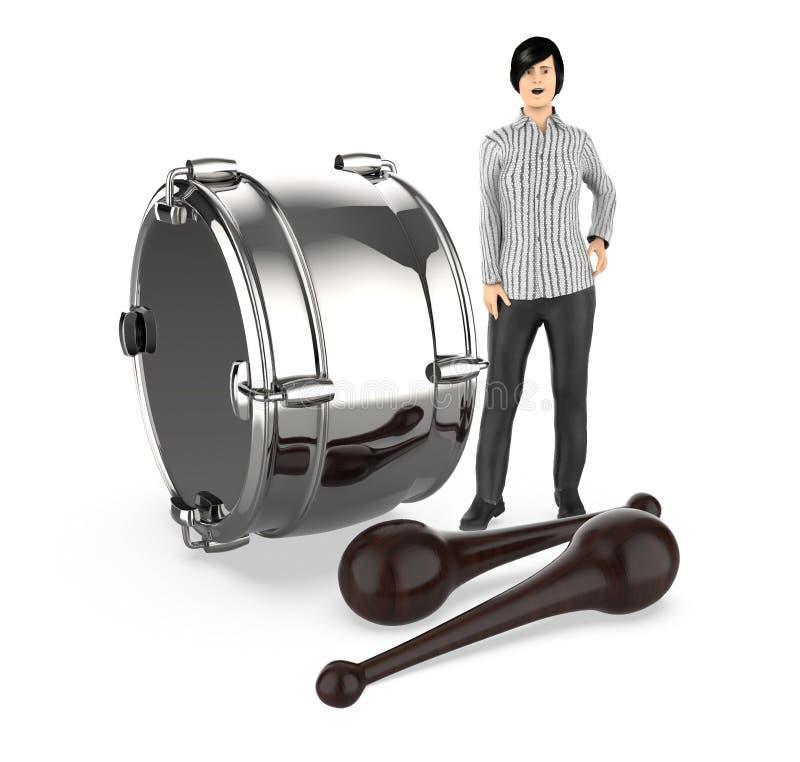 3d caractère, femme, étonné, presque se tenant à un tambour et aux battements illustration stock